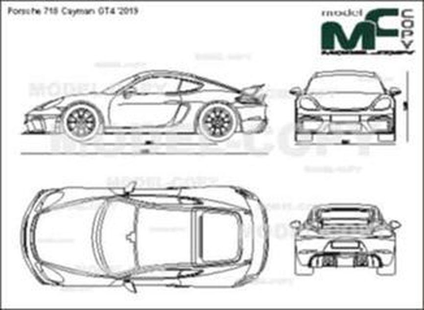 Porsche 718 Cayman GT4 '2019 - 2D drawing (blueprints)