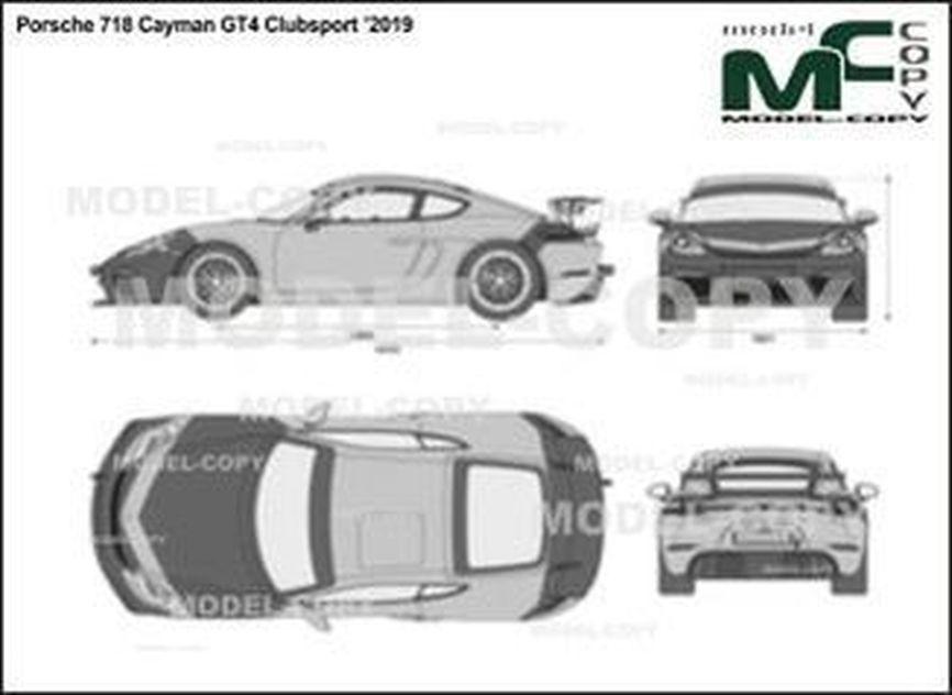 Porsche 718 Cayman GT4 Clubsport '2019 - 2D drawing (blueprints)