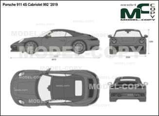 Porsche 911 4S Cabriolet 992 '2019 - 2D drawing (blueprints)