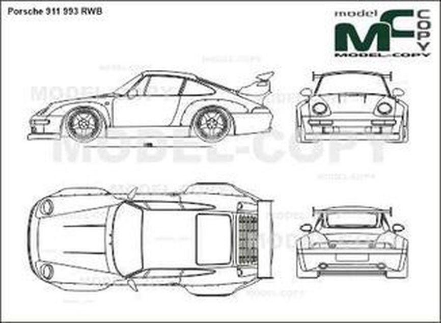 Porsche 911 993 RWB - 2D drawing (blueprints)