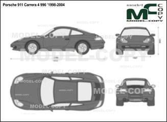 Porsche 911 Carrera 4 996 '1998-2004 - 2D drawing (blueprints)