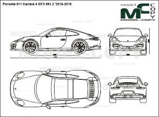 Porsche 911 Carrera 4 GTS 991.2 '2016-2019 - 2D drawing (blueprints)