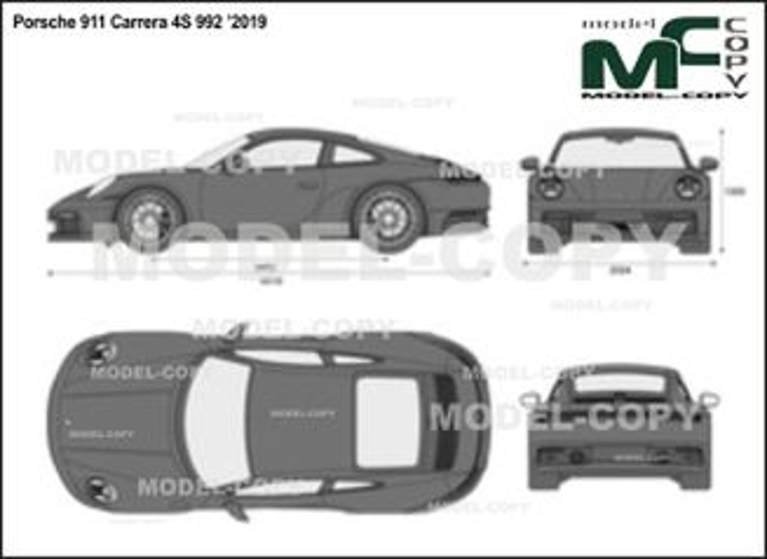 Porsche 911 Carrera 4S 992 '2019 - 2D drawing (blueprints)