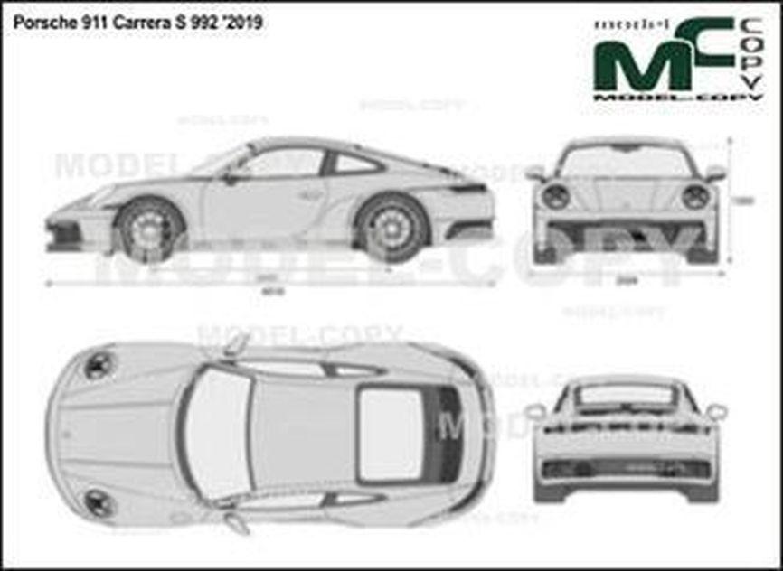 Porsche 911 Carrera S 992 '2019 - 2D-чертеж