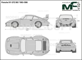 Porsche 911 GT2 993 '1993-1998 - 2D drawing (blueprints)