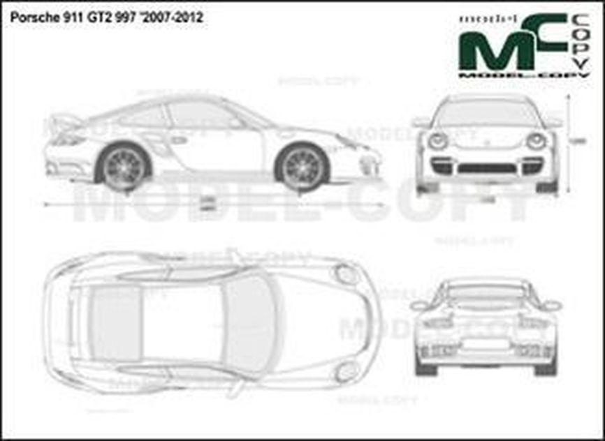 Porsche 911 GT2 997 '2007-2012 - 2D drawing (blueprints)