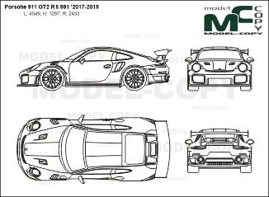 Porsche 911 GT2 RS 991 '2017-2019 - 2D drawing (blueprints)