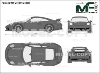 Porsche 911 GT3 991.2 '2017 - 2D drawing (blueprints)