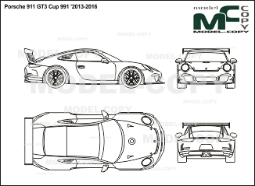 Porsche 911 GT3 Cup 991 '2013-2016 - 2D drawing (blueprints)