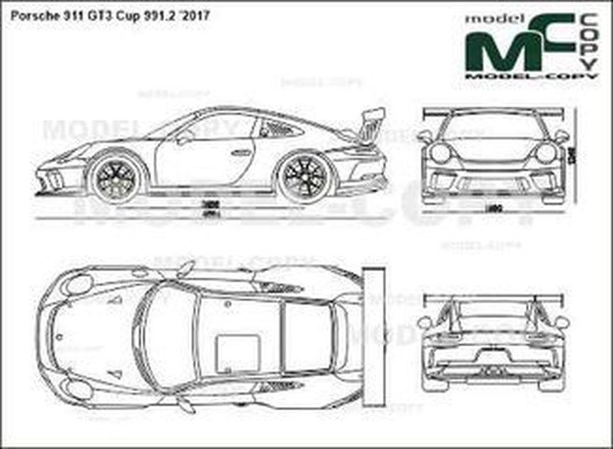 Porsche 911 GT3 Cup 991.2 '2017 - 2D-чертеж