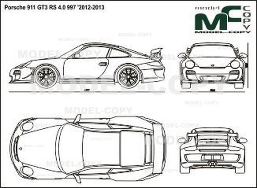 Porsche 911 GT3 RS 4.0 997 '2012-2013 - 2D drawing (blueprints)
