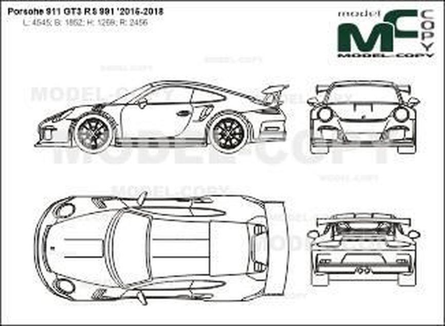 Porsche 911 GT3 RS 991 '2015-2018 - 2D図面