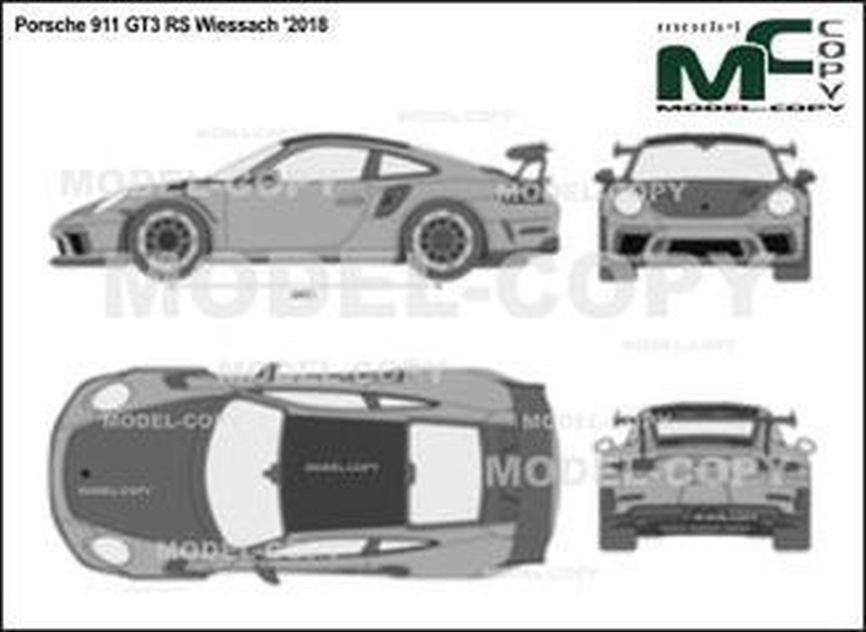Porsche 911 GT3 RS Wiessach '2018 - 2D drawing (blueprints)