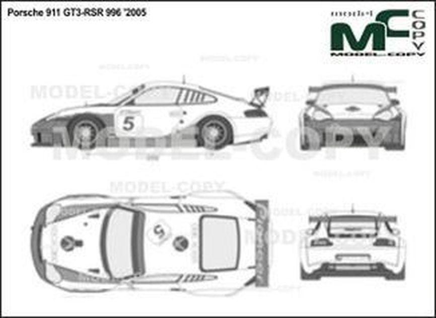 Porsche 911 GT3-RSR 996 '2005 - 2D drawing (blueprints)