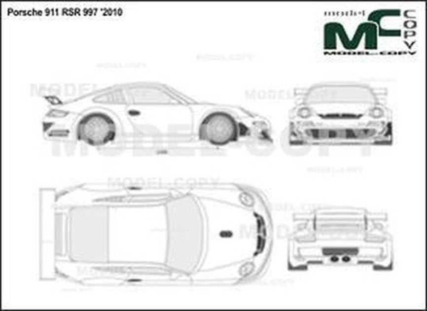 Porsche 911 RSR 997 '2010 - 2D-чертеж