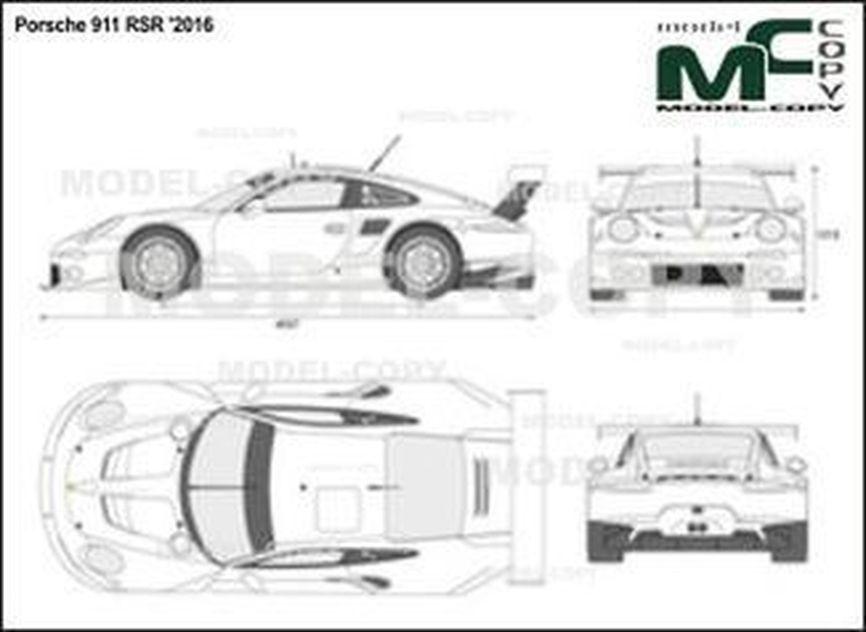 Porsche 911 RSR '2016 - 2D drawing (blueprints)
