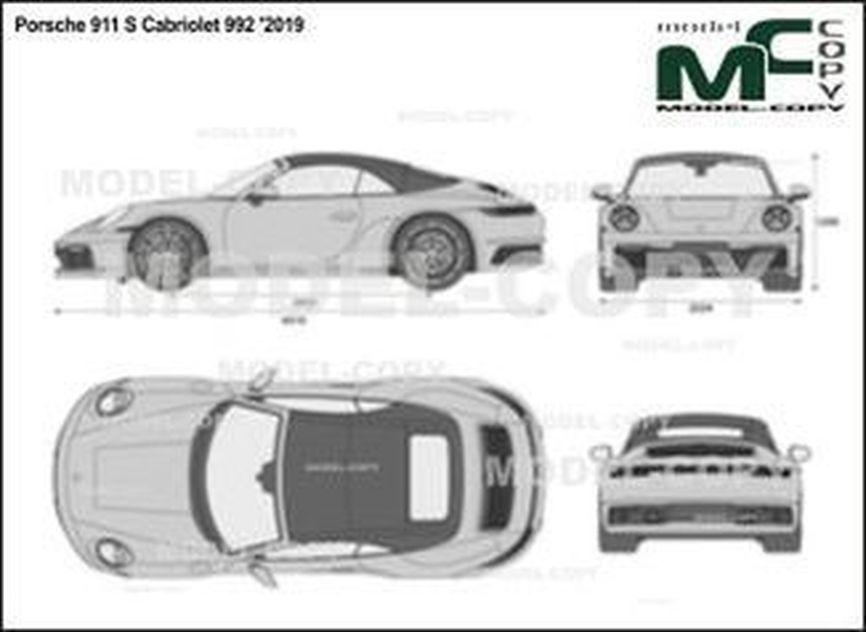 Porsche 911 S Cabriolet 992 '2019 - 2D kresba