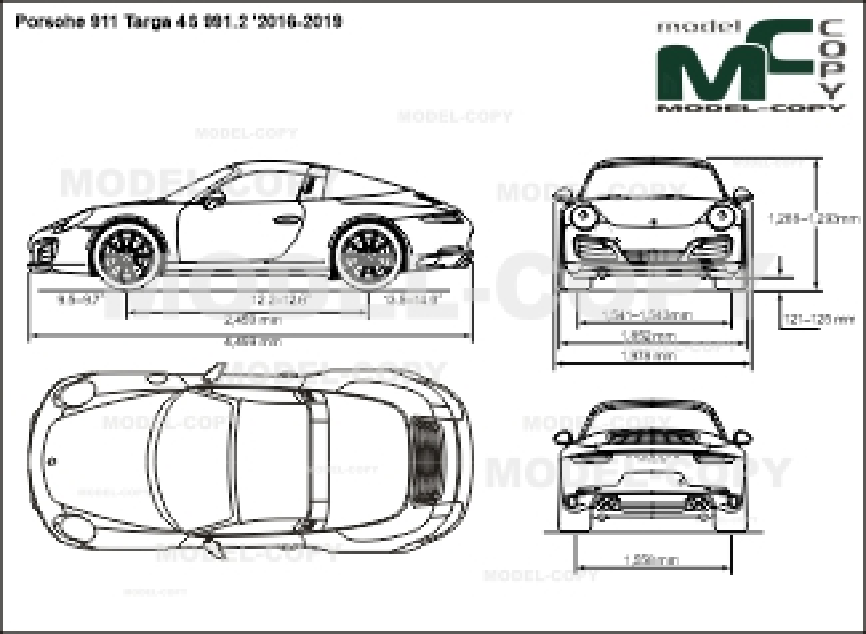 Porsche 911 Targa 4S 991.2 '2016-2019 - 2D drawing (blueprints)
