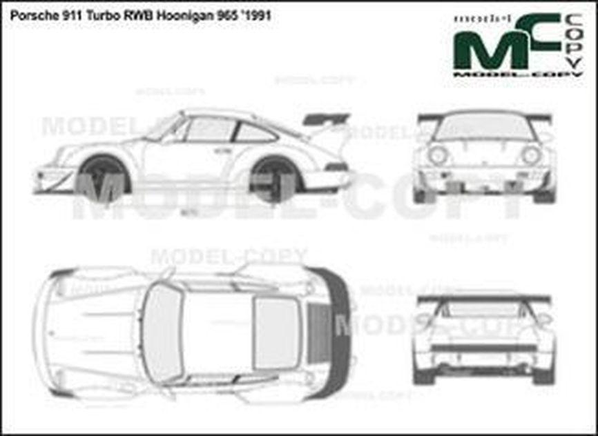Porsche 911 Turbo RWB Hoonigan 965 '1991 - 2D drawing (blueprints)
