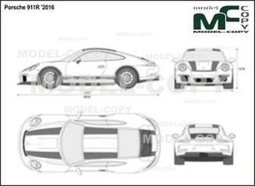 Porsche 911R '2016 - 2D drawing (blueprints)