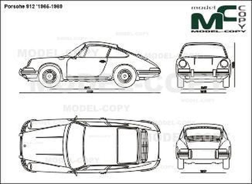 Porsche 912 '1965-1969 - 2 ಡಿ ಡ್ರಾಯಿಂಗ್
