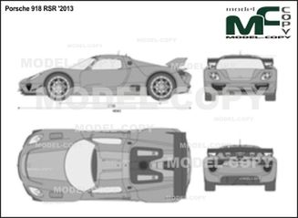 Porsche 918 RSR '2013 - 2D drawing (blueprints)