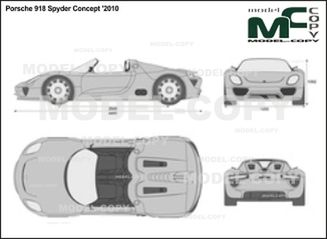 Porsche 918 Spyder Concept '2010 - 2D drawing (blueprints)