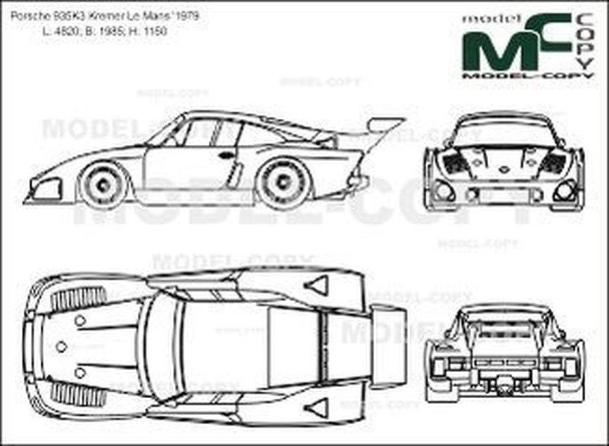 Porsche 935K3 Kremer Le Mans '1979 - 2D drawing (blueprints)