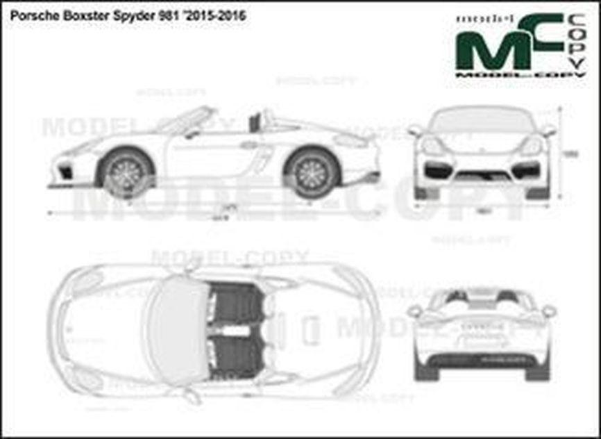 Porsche Boxster Spyder 981 '2015-2016 - 2D drawing (blueprints)