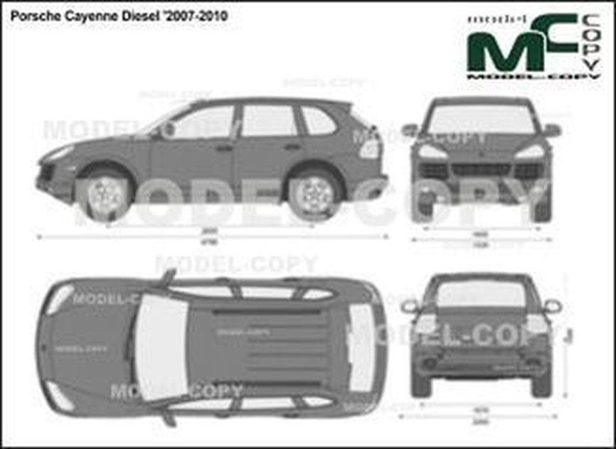 Porsche Cayenne Diesel '2007-2010 - 2D drawing (blueprints)