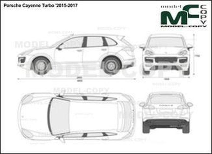 Porsche Cayenne Turbo '2015-2017 - 2D drawing (blueprints)