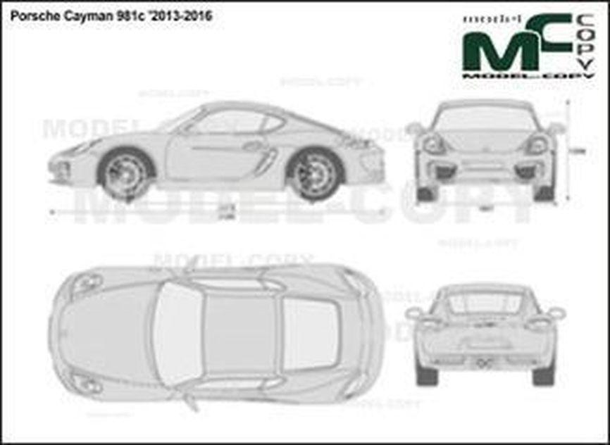 Porsche Cayman 981c '2013-2016 - 2D drawing (blueprints)