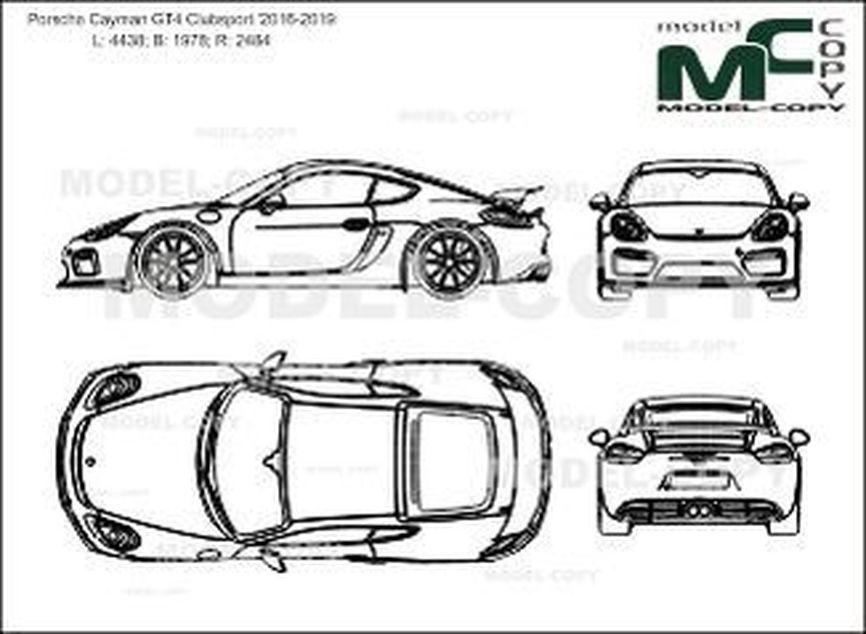 Porsche Cayman GT4 Clubsport '2016-2019 - 2D図面