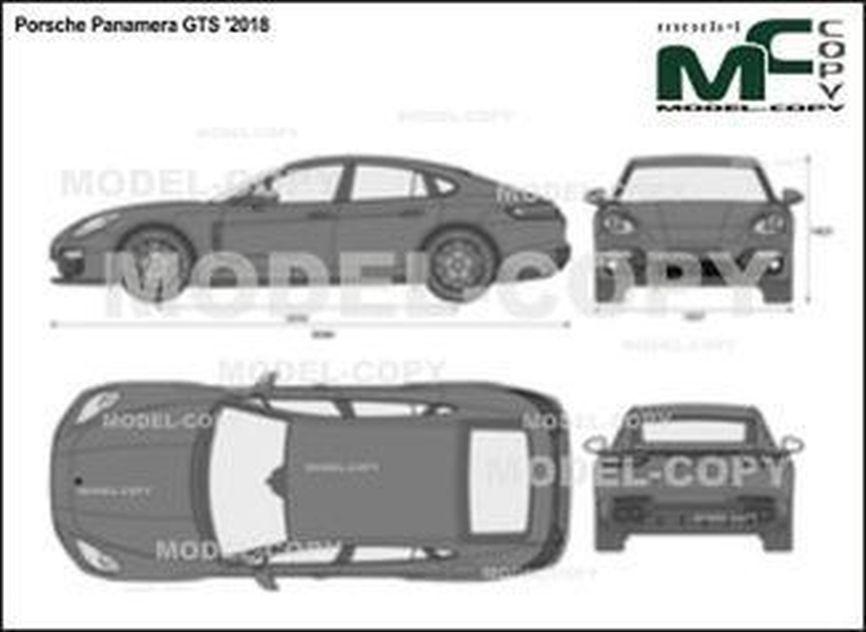 Porsche Panamera GTS '2018 - 2D drawing (blueprints)