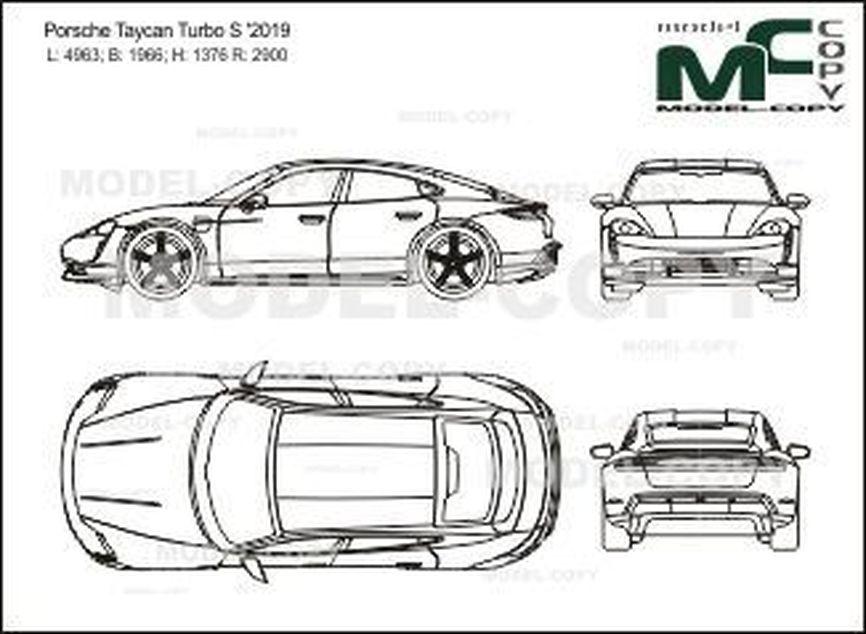 Porsche Taycan Turbo S '2019 - 2D-чертеж