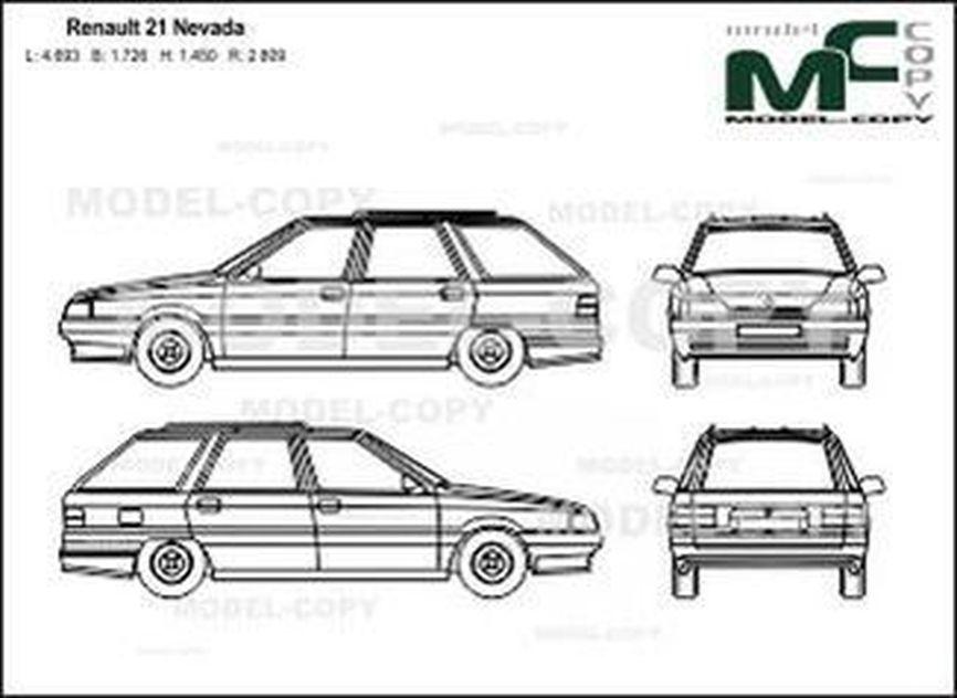 Renault 21 Nevada - 2D drawing (blueprints)