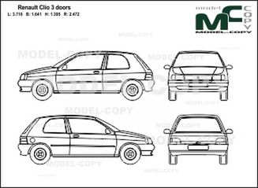 Renault clio 3 doors dessin 28002 model copy - Dessin renault ...