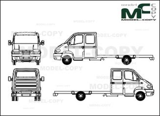 Renault Mascott chassis, long, double cabin - 2D drawing (blueprints)