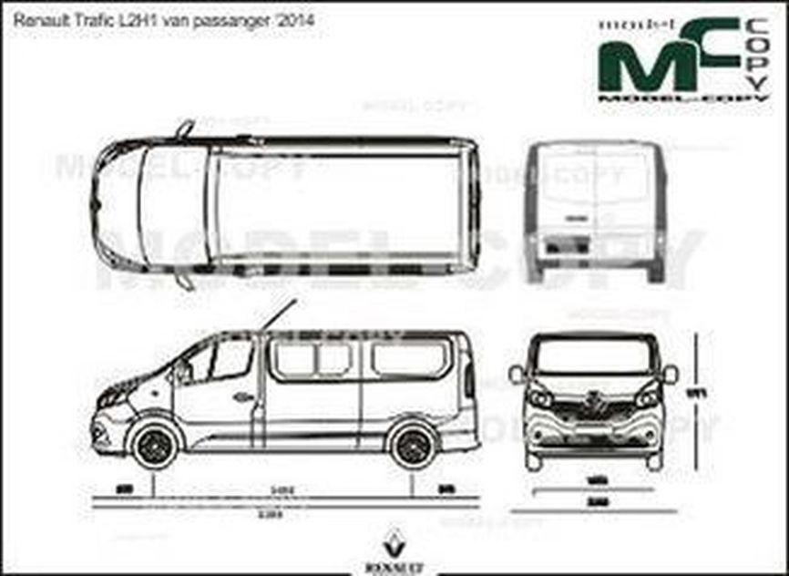 renault trafic l2h1 van passanger  u20182014 - drawing