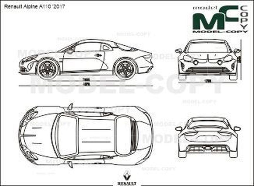 Renault Alpine A110 '2017 - 2D drawing (blueprints)