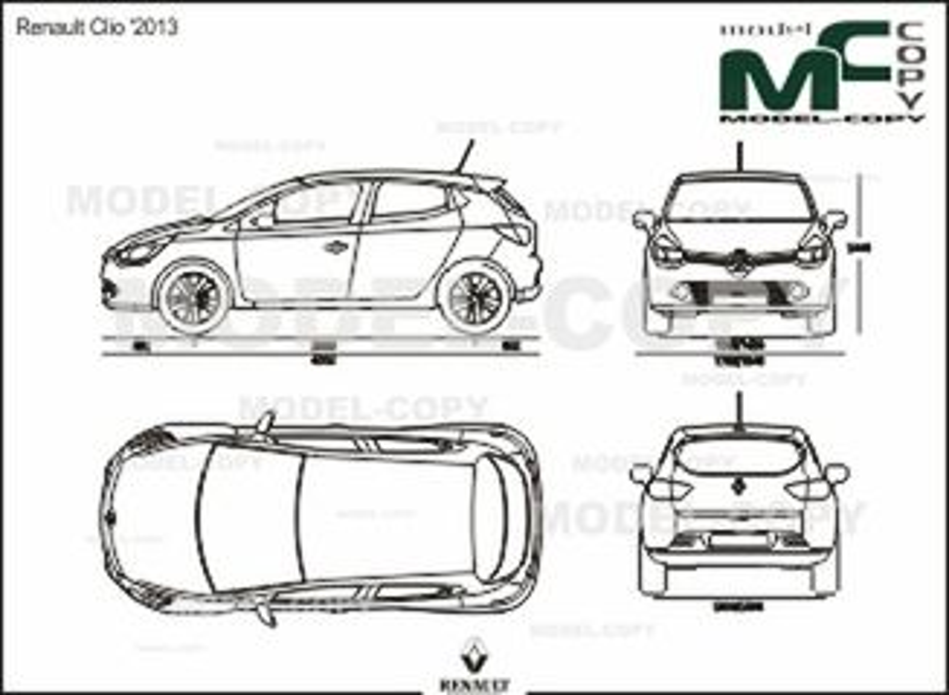 Renault Clio '2013 - 2D drawing (blueprints)