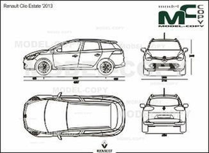 Renault Clio Estate '2013 - 2D drawing (blueprints)