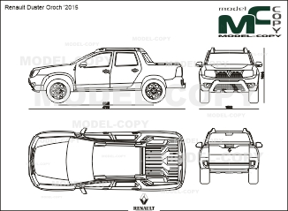Renault Duster Oroch '2015 - 2D drawing (blueprints)