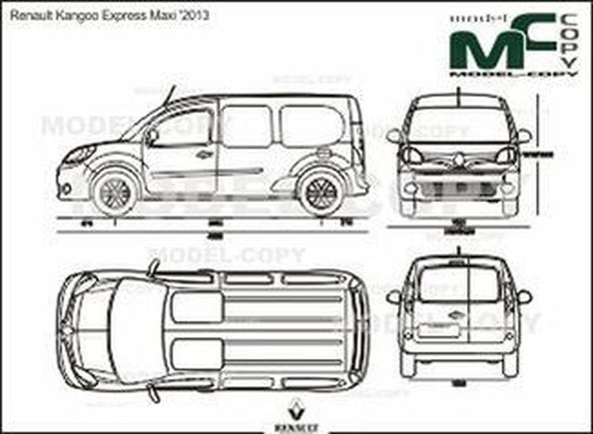 Renault Kangoo Express Maxi '2013 - 2D drawing (blueprints)