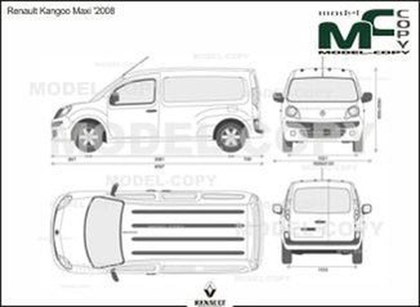 Renault Kangoo Maxi '2008 - 2D drawing (blueprints)