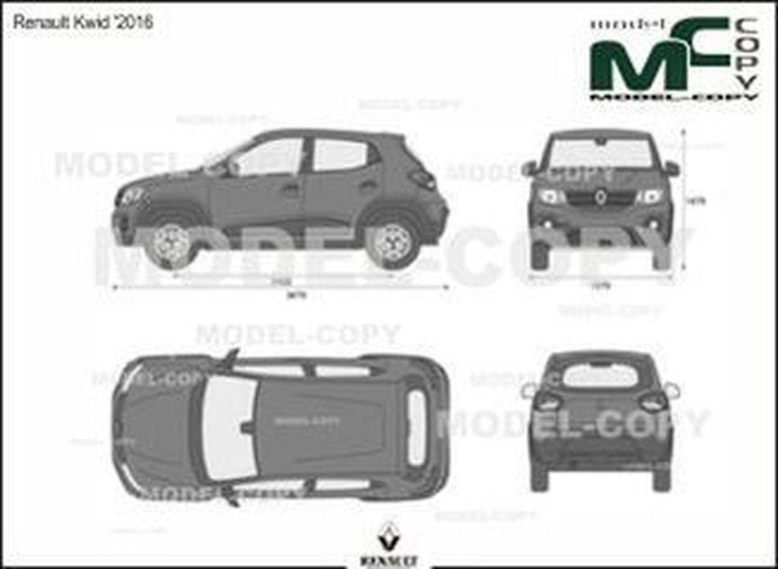 Renault Kwid '2016 - 2D drawing (blueprints)