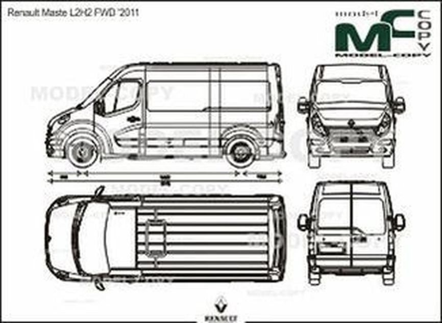 Renault Master L2H2 FWD '2011 - 2D drawing (blueprints)