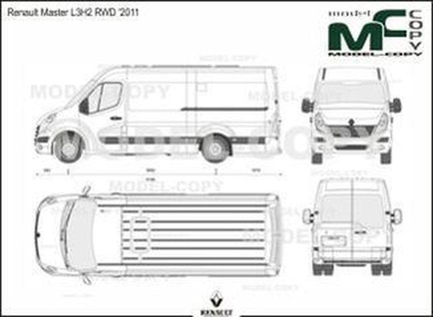 Renault Master L3H2 RWD '2011 - 2D çizim