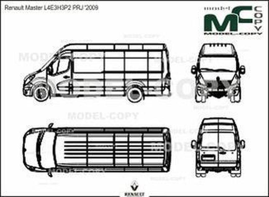 Renault Master L4E3H3P2 PRJ '2009 - 2D drawing (blueprints)