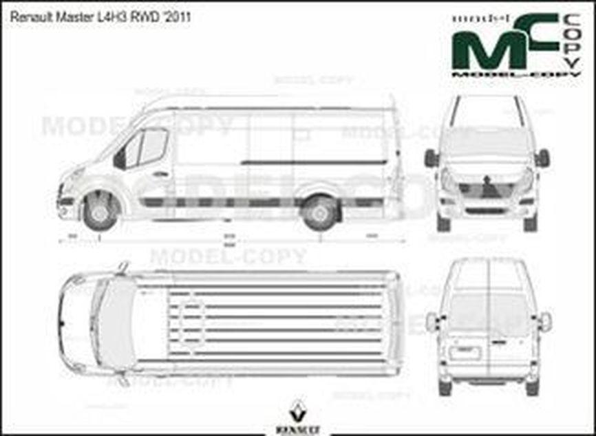 Renault Master L4H3 RWD '2011 - 2D drawing (blueprints)